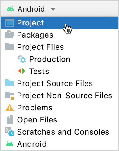Select the Project view